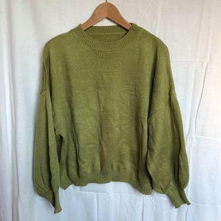 韓國草綠泡泡袖針織毛衣
