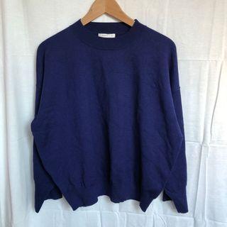 Pazzo柔軟寬鬆寶藍立領針織毛衣