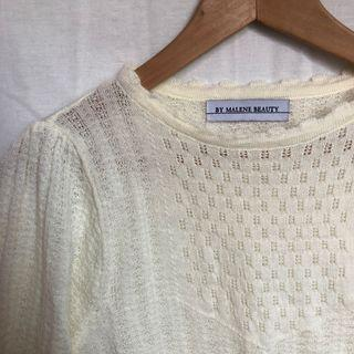 韓國提花奶白小毛衣