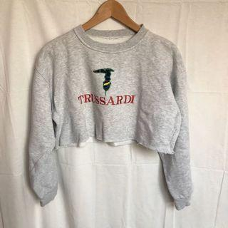Trussardi狗狗刺繡灰白短版古著大學T