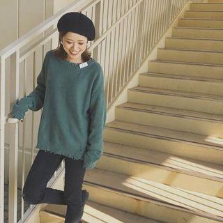 近全新 日本帶回專櫃正品 JEANASIS 綠色針織破壞感長袖上衣