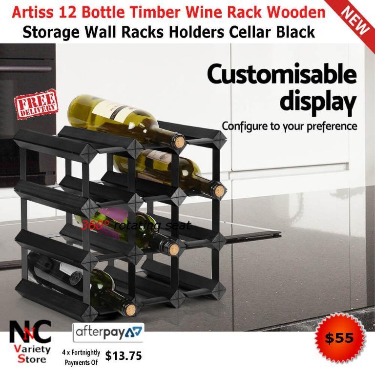 Artiss 12 Bottle Timber Wine Rack Wooden Storage Wall Racks Holders Cellar Black
