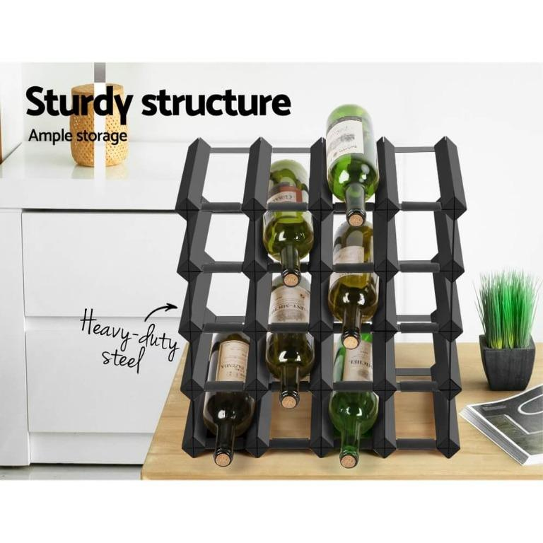 Artiss 20 Bottle Timber Wine Rack Wooden Storage Wall Racks Holders Cellar Black