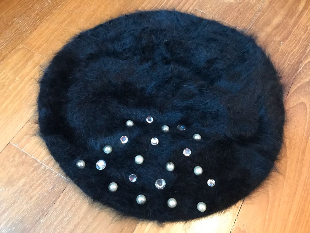 Furry Studs black furry cap with crystal & pearl studs from japan