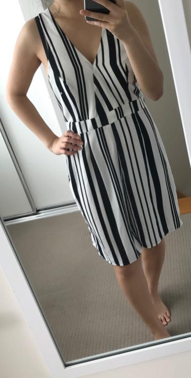 Dotti playsuit (top + culotte shorts style) black and white stripe