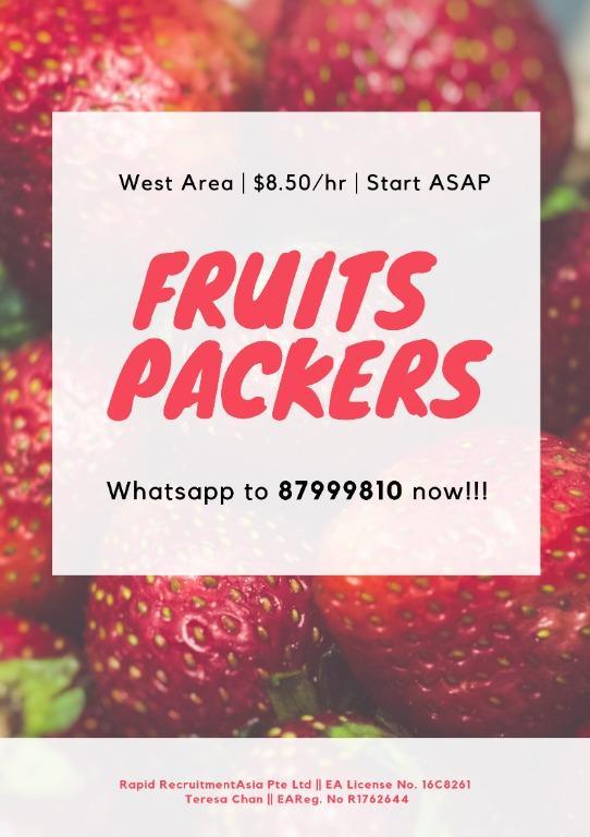 Fruits Packers @ Boon Lay ($1600+| Start ASAP!)