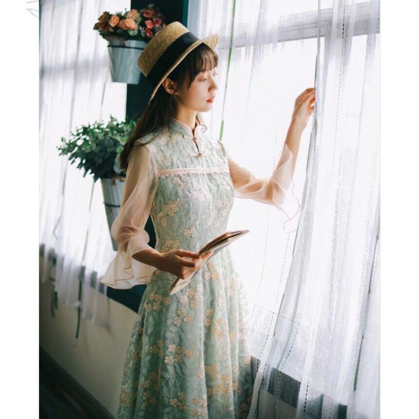 NWT Mandarin Collar Romantic Embroidery Midi Dress