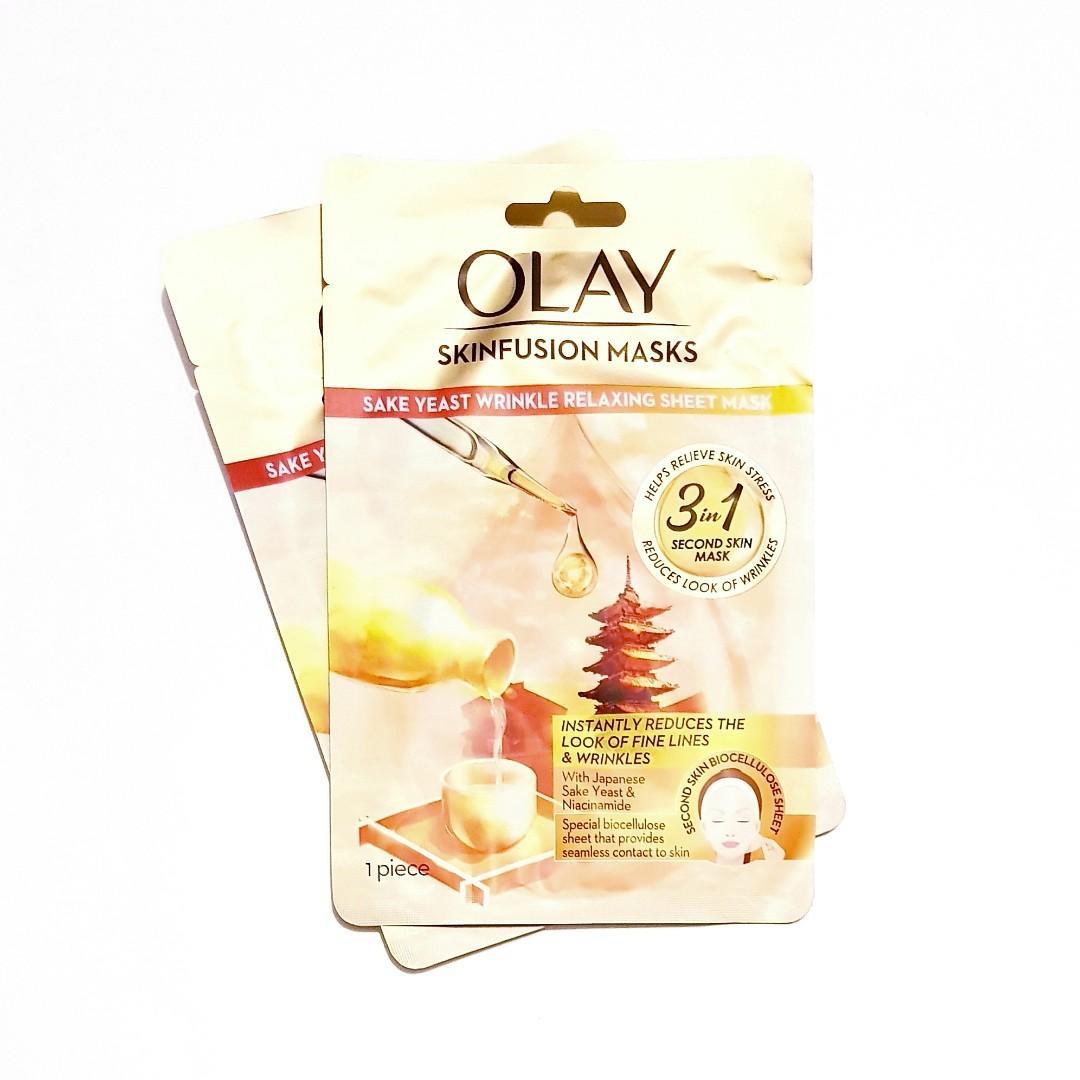 Olay Skin Fusion Japanese Sake Yeast & Niacinamide Wrinkle Relaxing Anti Aging Hydrating Skin Biocellulose Sheet Facial Face Masque Mask