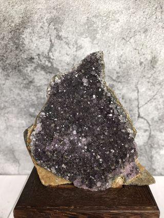 招財紫晶鎮 異象紫水晶晶片晶簇擺件452.4g