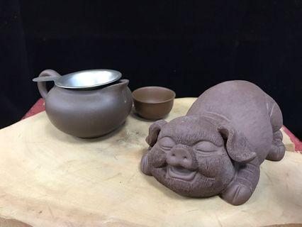 紫砂豬茶寵 小豬茶寵擺件 可養創意工藝品茶玩茶具配件 福氣招財豬