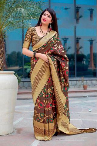 Adaa Collections   Silk Sarees   Jamadani Silk Minakari Weaving Saree  Women Wear  