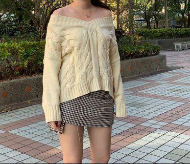 米白 平口 粗針織 毛衣 韓國購入