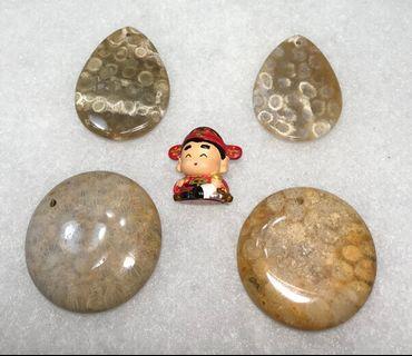 發財玉~紅色黃金~海底有機寶石~天然珊瑚玉圓牌吊墜 (圖下右款)
