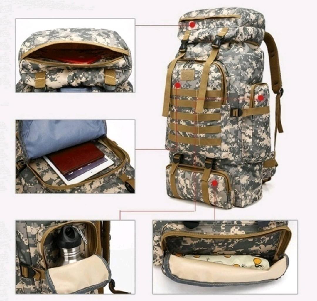 2019 New High Capacity Black Rucksack, Men's Tactical Backpack