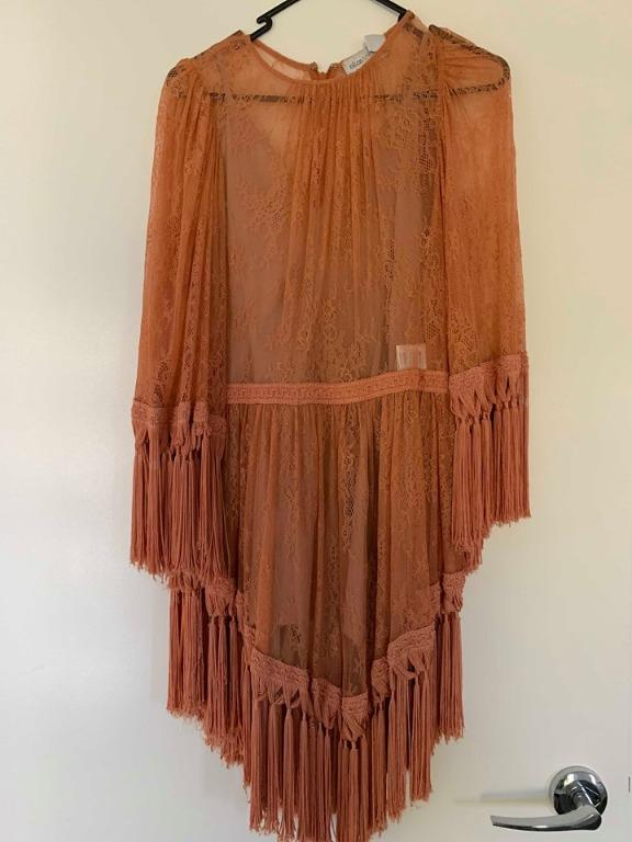 ALICE MCCALL Are You Ready Girl Mini Dress In Amber (Open Fringe)