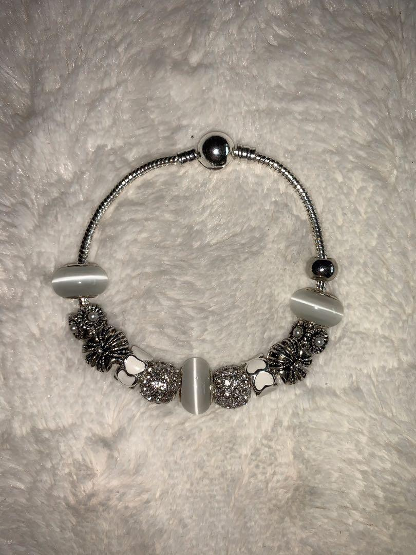 Brilliant Co Pandora Inspired Full Set Beaded Charm Bracelet embellished with crystals from Swarovski