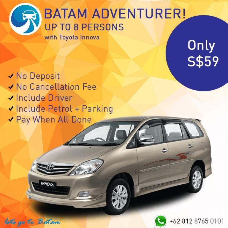 Cheapest Batam Car Rent Avanza, Innova, Coaster, Bus ALL INCLUDE No Hidden Cost PAY When All Done