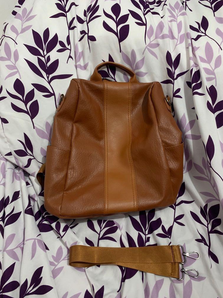 Cognac Convertible Backpack w/ Removable Shoulder Strap