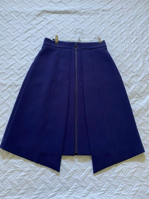 Cue skirt - PURPLE/ROYAL BLUE O-RING ZIP PULL ASYMMETRIC (size 8)