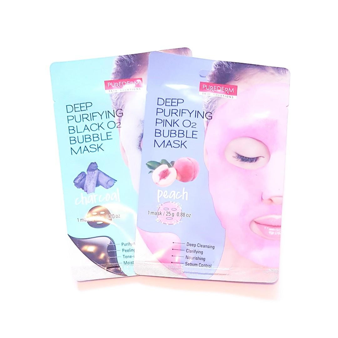 Deep Purifying Skin Solutions Deep Cleansing Facial Peach Pink O2 Bubble Face Wash Off Sheet Masque Mask