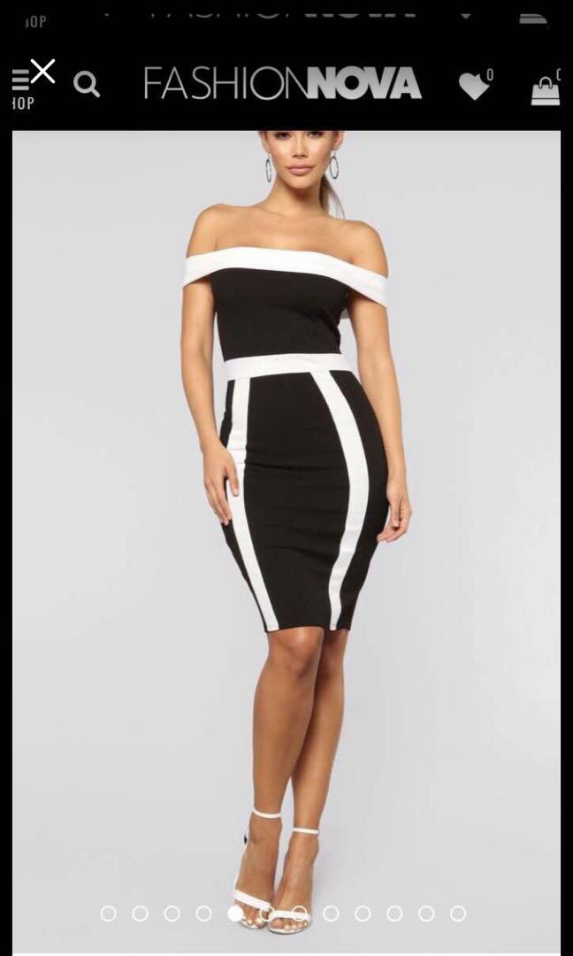 FASHIONNOVA - Size XL (Fits L too) Off Shoulder Black and White Dress