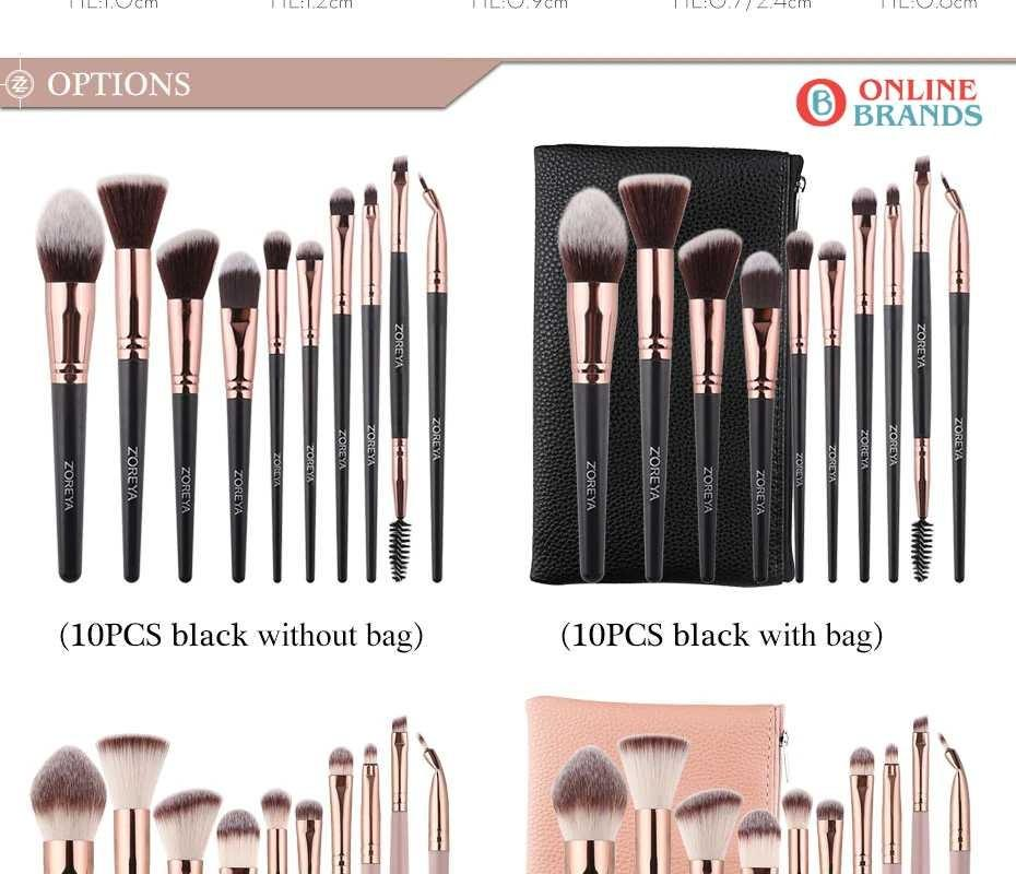 Foundation Makeup Brushes Soft Synthetic Set 10pcs. Free shipping in Canada. Online Brands