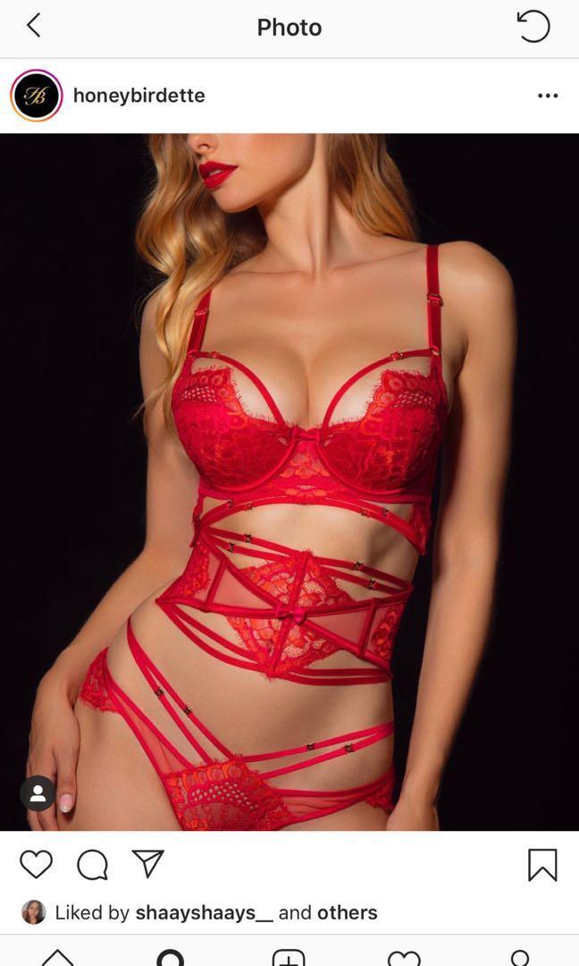 HONEY BIRDETTE CANDICE SET (RED) (including stockings)