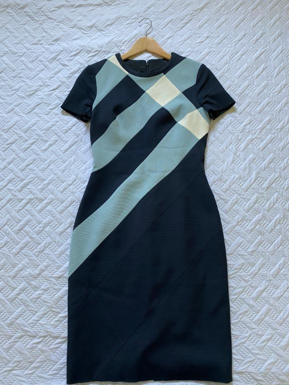 Karen Millen Tailored Pencil Check Dress Blue/multi (UK size 12)