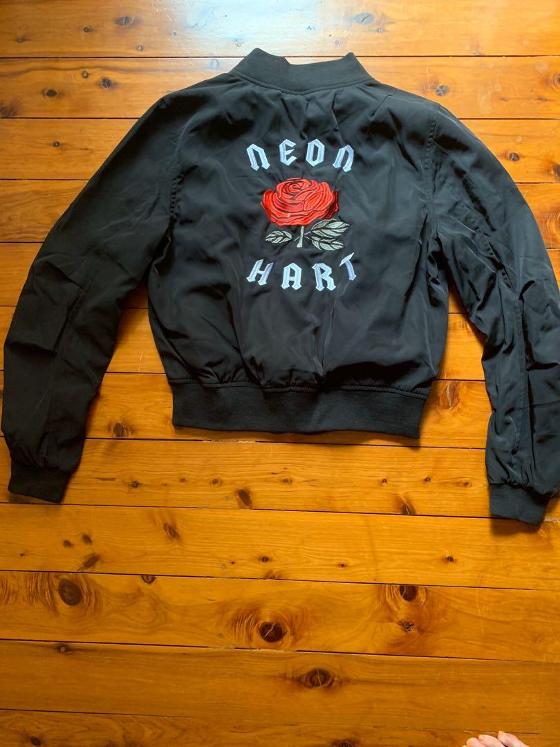 Neon Hart Size S / 10 Bomber Jacket With Rose Decal