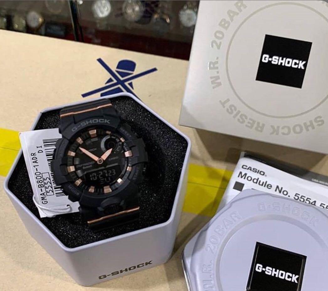 NEW🌟BLUETOOTH : GSHOCK UNISEX SPORTS WATCH : 100% ORIGINAL AUTHENTIC CASIO G-SHOCK : GMA-B800-1ADR / GMA-B800-1A / GMAB800-1A / GMA-800-1A / GBA-800-1A (BLACK ROSE-GOLD)