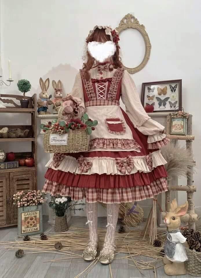 💖[OP DRESS+APRON+HAIRBAND] CUTE LOLITA COSPLAY COSTUME WOMEN FASHION HARAJUKU STREET DRESS SET💖
