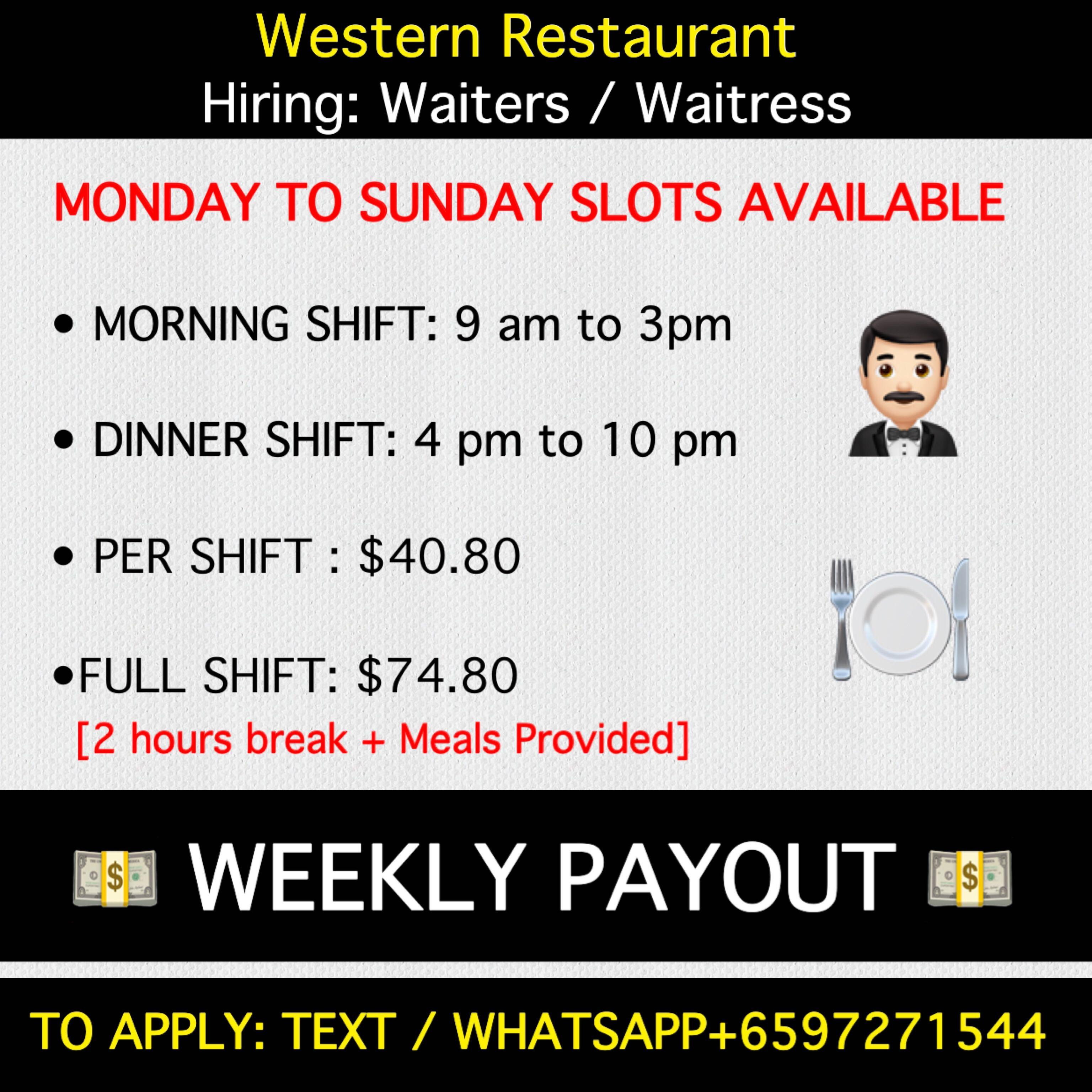 Part Time Waiters & waitress wanted !!! Daily cash paid