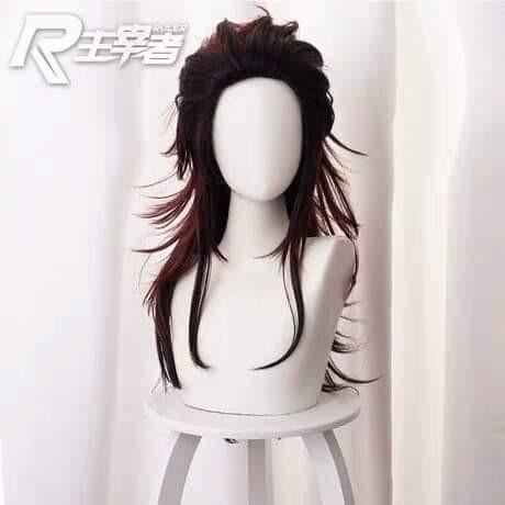 🌊TANJIROU LONG HAIR VERSION KIMETSU NO YAIBA ANIME DEMON SLAYER COSPLAY COSTUME WIG 🌊