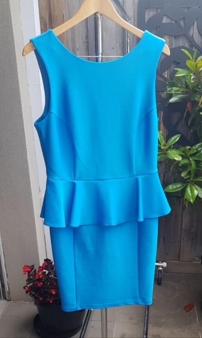 Topshop peplum waist fitted dress in Neon blue size 14-16
