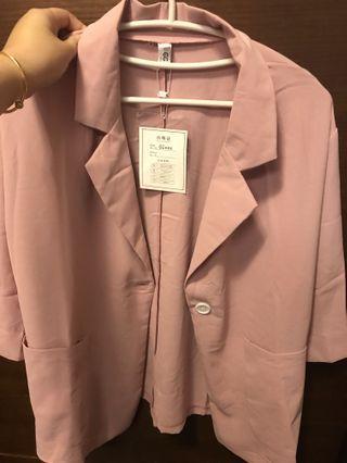 粉色休閒西裝套裝
