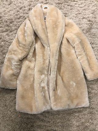 Cream Faux fur coat
