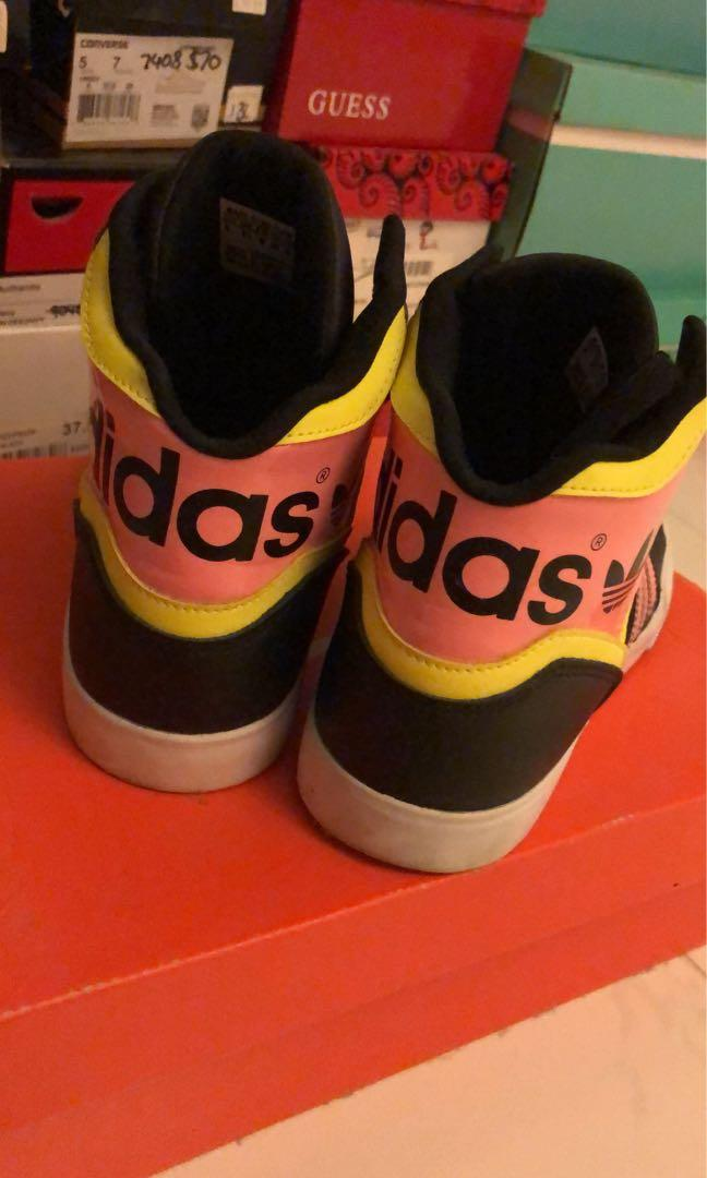 Adidas High Top Shoes - Women's - Black Pink Yellow