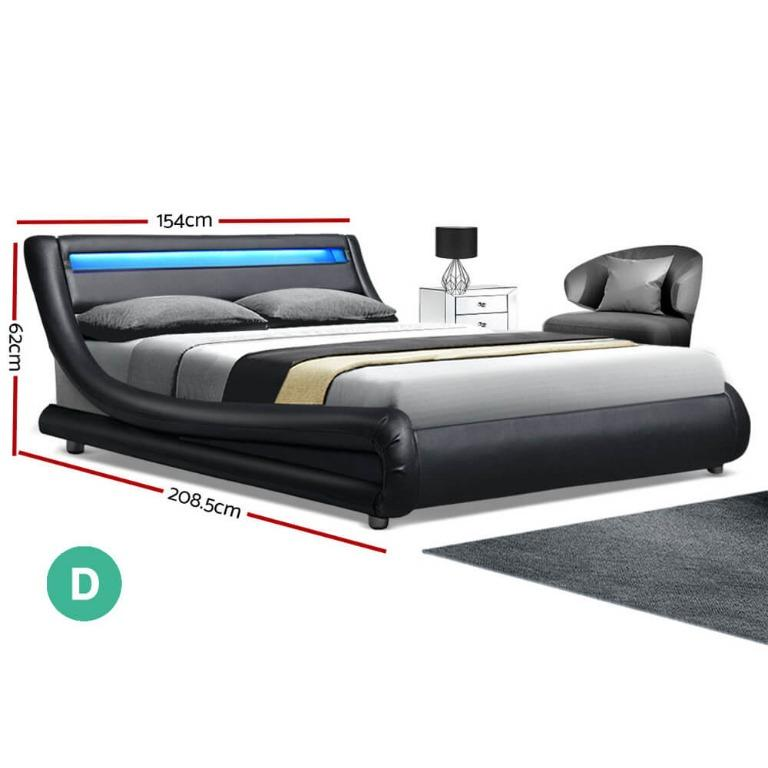 Artiss LED Bed Frame Double Full Size Base Mattress Platform Black Leather ALEX