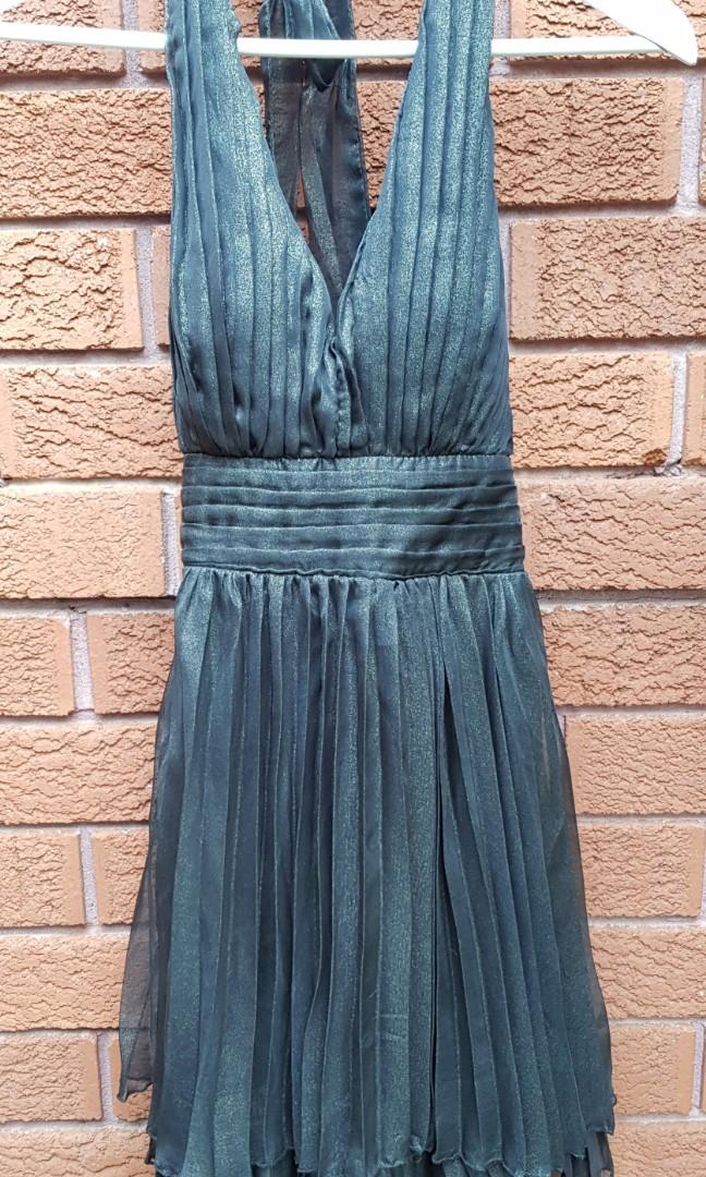 Black pleated halter dress with gold speck throughout- size small - NEW with tags