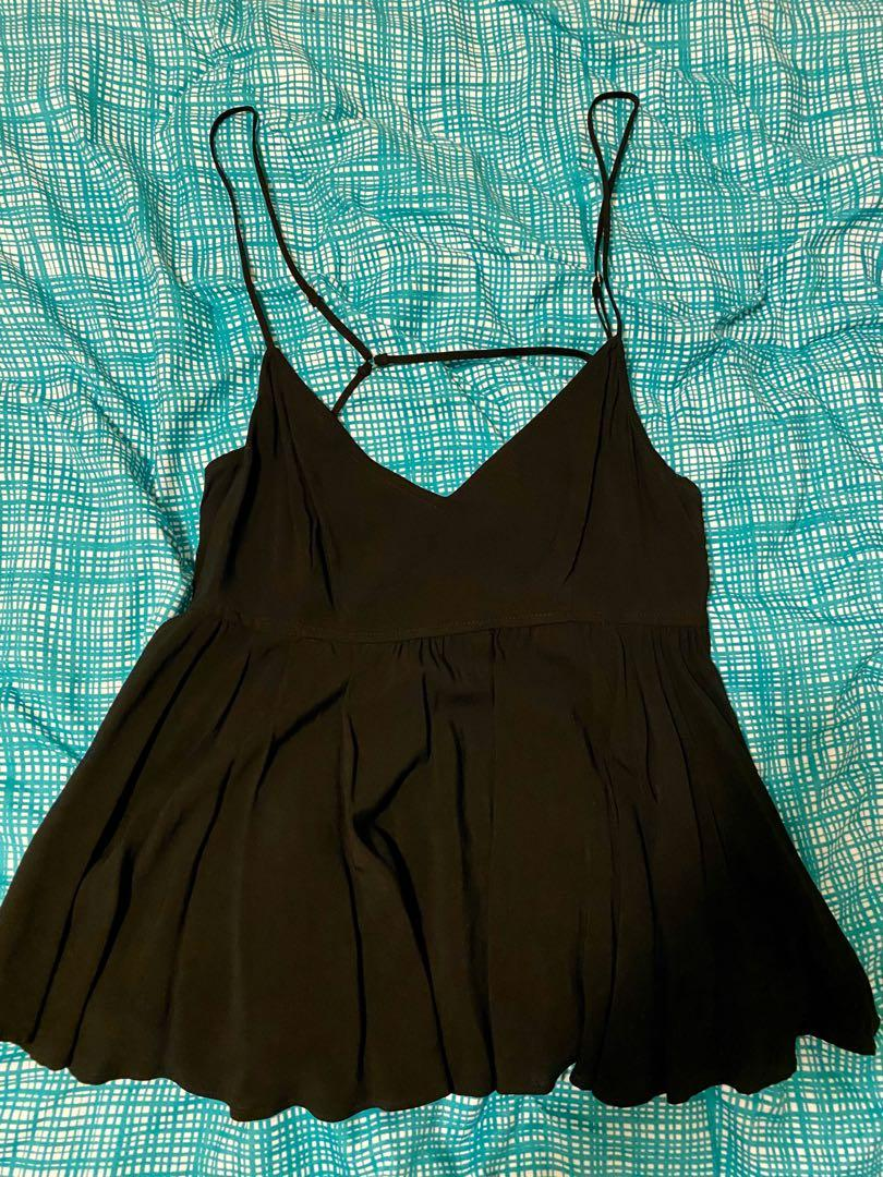 Bnwt Forever21 Black peplum singlet cami top size S