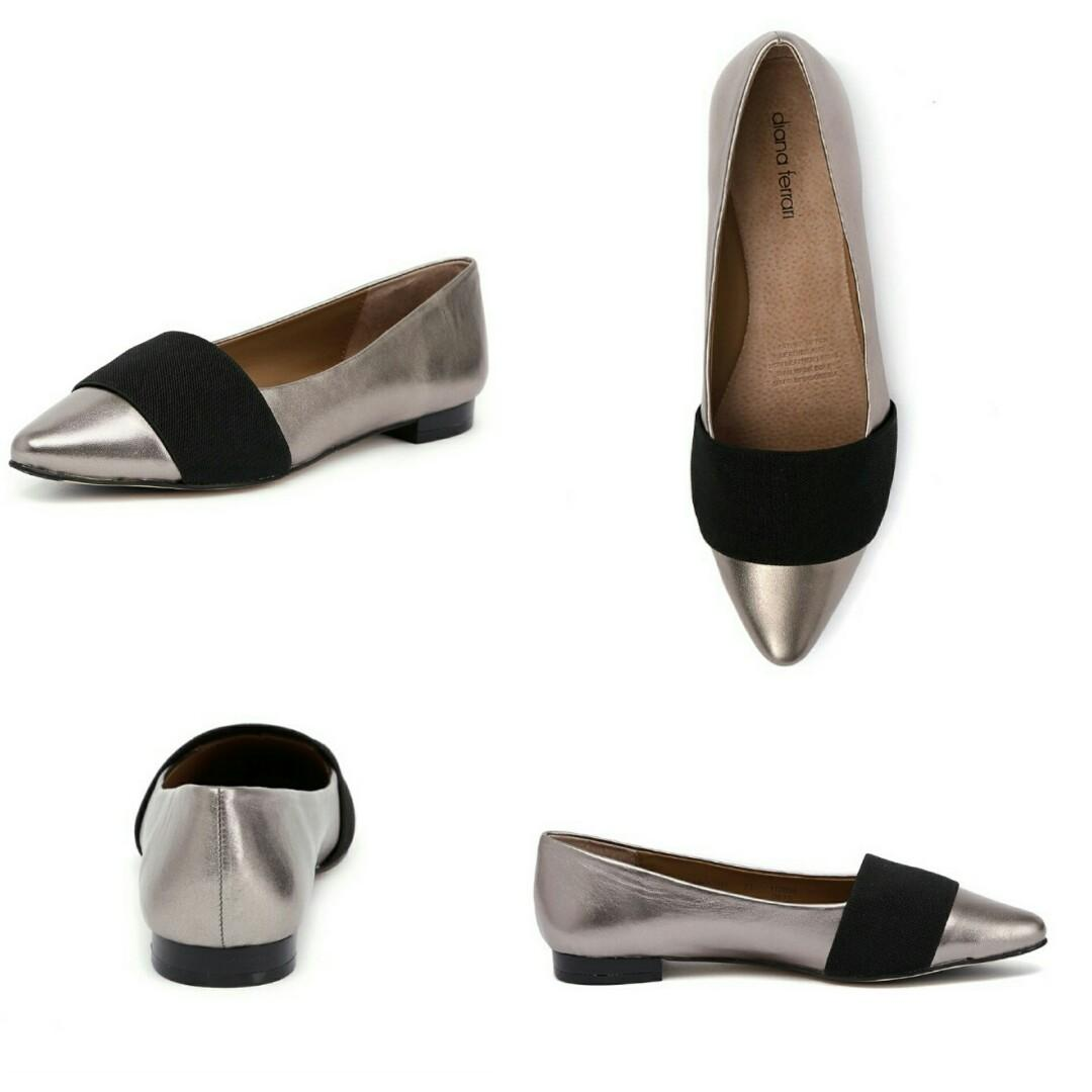 Brand New in Box Dianna Ferrari Size 6 Pointed Leather Flats RRP $149