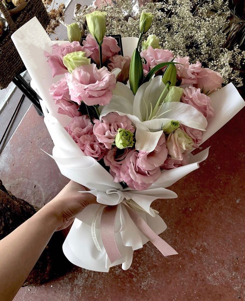Fresh Flower Bouquet Pink Eustomas White Lily Gardening Flowers Bouquets On Carousell