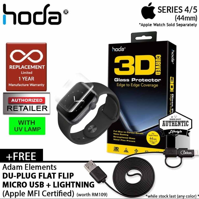 Hoda Screen Protector for Apple Watch Series 5 / 4 ( 44mm ) - 3D Full UV Glue Tempered Glass Edition ( Light INCLUDED)