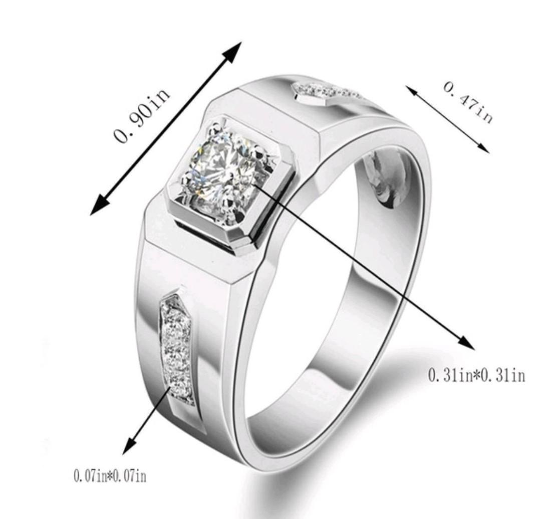 Mens 925 Sterling Silver White Topaz Engagement Rings