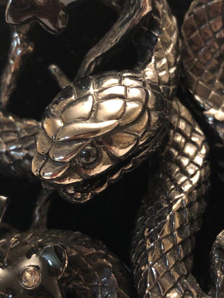 Roberto Cavalli snake flowers ruthenium -plated Swarovski Crystal collar necklace
