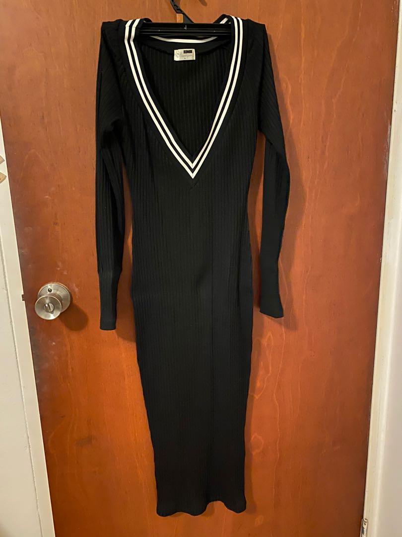 Rumor boutique black ribbed vneck midi dress size 8
