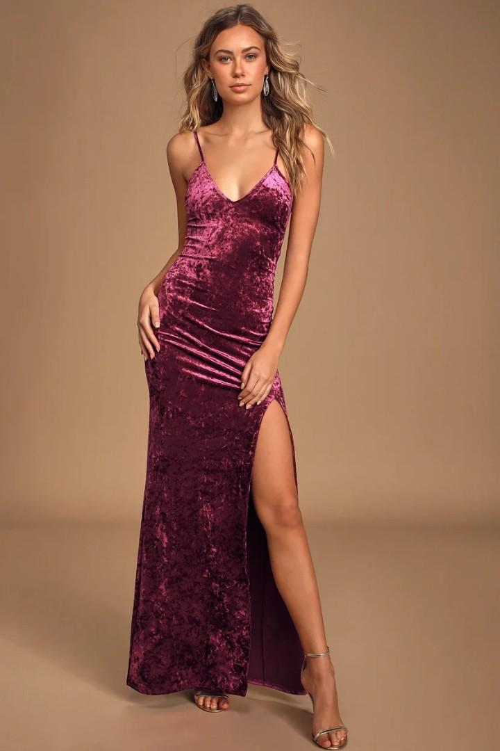 Supernatural Love Burgundy Crushed Velvet Maxi Dress