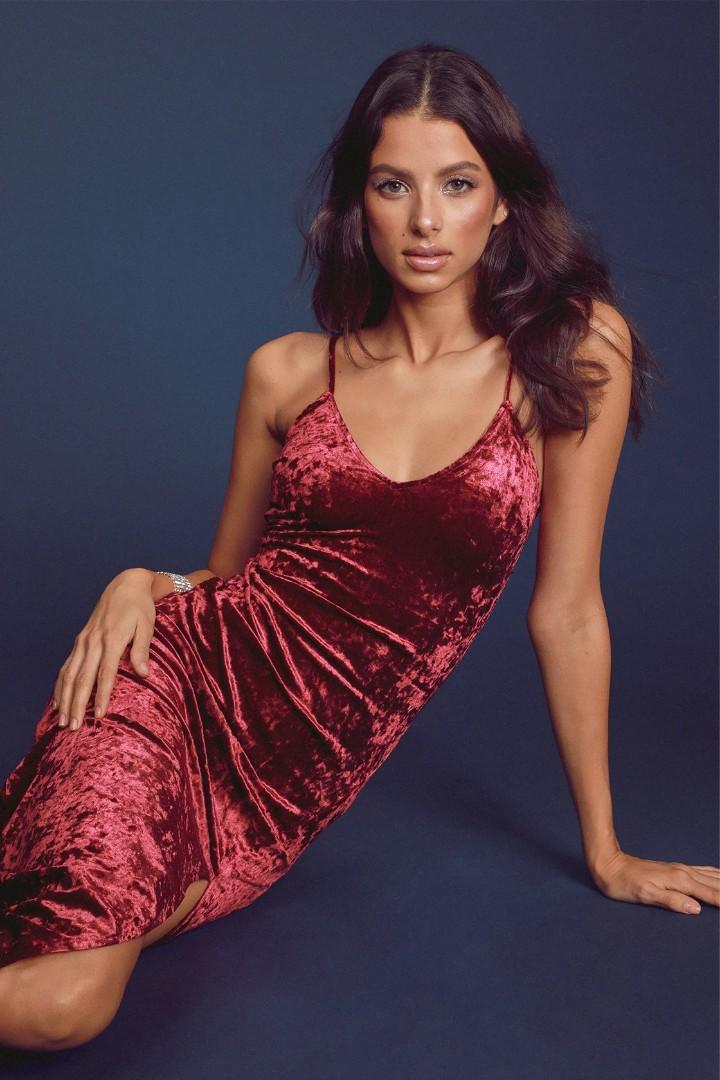 Supernatural Love Burgundy Crushed Velvet Maxi Dress