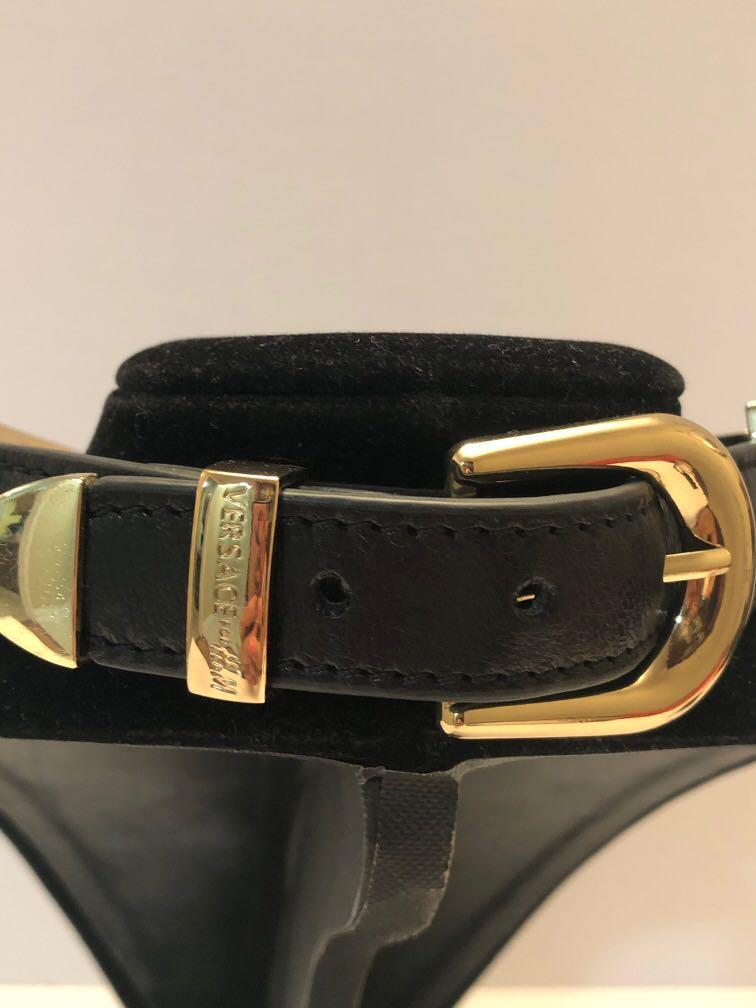 Versace for #swapCA H&M gold panther head choker with leather straps