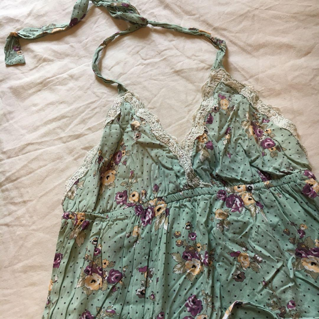 100% Cotton Playsuit Onesie | Lovely Forest Green Colour with purple & yellow floral print